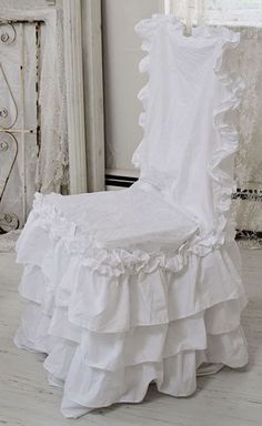 Shabby RUFFLED Chair Slipcover-shabby chic style chair slipcover, white ruffle chair pads,