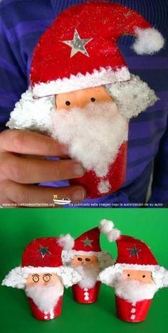 Santa Claus con rollos de papel higiénico tutorial: http://www.manualidadesinfantiles.org/santa-claus-con-rollos-de-papel-higienico/