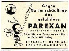 Werbung - Original-Werbung/ Anzeige 1958 - PAREXAN / MOTIV FLIEGE (CARTOON) - ca. 55 X 40 mm