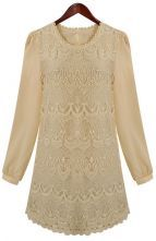 Apricot Long Sleeve Embroidery Lace Dress $37.10