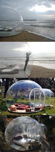 This bubble tent lets you sleep under the stars! Imagine reading a book in here while it's raining.