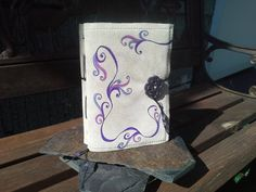 Tan Suede Leather Journal Sketchbook - Purple Passion Design