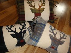 Scottish Stag Cushion by TheWoollyCushionCo on Etsy, Festive touches to compliment my sofa Applique Cushions, Sewing Pillows, Wool Applique, Christmas Sewing, Christmas Crafts, Stag Cushion, Sewing Crafts, Sewing Projects, Animal Cushions
