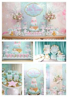 The most beautiful Mermaid Oasis Birthday Party we've ever seen on prettymyparty.com.