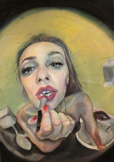 Reflexion / Verzerrung - GesichtMake Up Ap Drawing, Life Drawing, Distortion Art, Advanced Higher Art, Reflection Art, Ap Studio Art, Guache, Drawing Projects, A Level Art