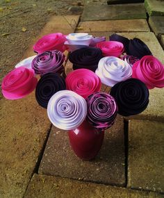 Black and Pink handmade paper flower bouquet.    http://www.etsy.com/shop/ThePaperFlowerbed   #bridesmaidsflowers #weddingflowers #bridalbouquet #paperflowers #paperflowerbouquet #floralbouquet #flowers #floralarrangement