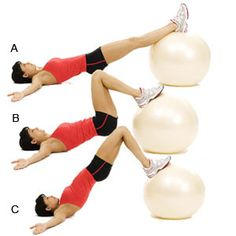 Great move for your butt and thighs: Leg Curls on a stability ball.