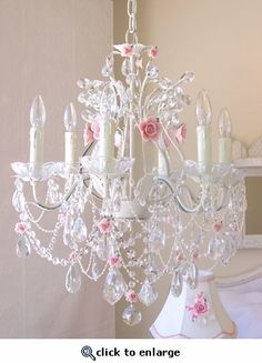 6-Light Antique White Crystal Chandelier with Pink Porcelain Roses