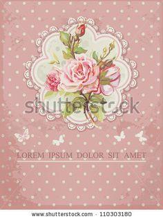 Ornate pink frame decoration with white polka dot pattern. Elegant Vintage Greeting card design. Happy Birthday vector illustration with flo...