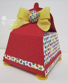 Petite purse square box - by LeAnne Greff of Flowerbug's Inkspot.  This box is made from the petite purse die and holds twice as much inside.