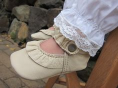 baby mary janes, lace trimmed pants