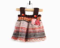 Knitted Baby Girl Dress  Brown Orange and Gray by SasasHandcrafts