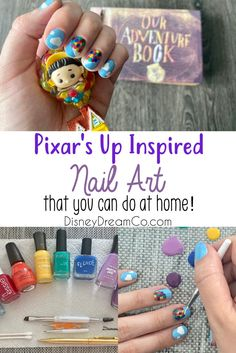Nail art is a fun way to show your style and your interests, so put Disney on your nails! Here are step-by-step instructions for Pixar's Up on your nails! Up Pixar, Disney Pixar Up, Disney Home, Disney Diy, Disney Crafts, Disney Dream, Disney Style, Disney World Secrets, Disney World Planning