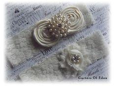 Ivory Wedding garter ivory satin rosettes pearls by GartersOfEden, $25.00