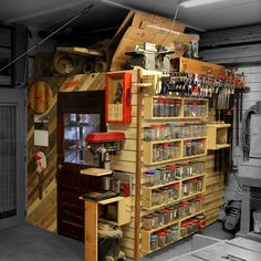 French Cleat Shop Storage Wall & Loft In my shop there is a small area I share with other tenants with some food storage and a fridge and microwave, so I decided to close it off to keep the dust out and… Loft Storage, Wall Storage, Garage Storage, Storage Spaces, Garage Workshop Organization, Workshop Storage, Workshop Ideas, French Cleat System, Atelier Creation