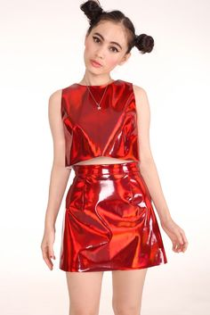 Image of Made To Order - Red Holographic Motel 2 Piece Set