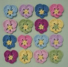 Pansies - I made some just like these. They are so easy and look wonderful when added to tablecoth edges!