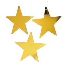 Have this handing from several places and a few against the table for the cake or gifts.....Large Metallic Gold Stars - 12 - OrientalTrading.com