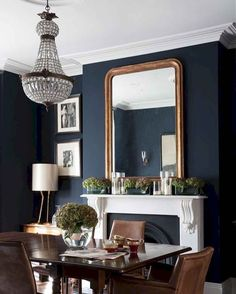 75 Gorgeous Farmhouse Dining Room Table and Decorating Ideas - Homekover Farmhouse Dining Room Table, Dining Room Blue, Dining Room Walls, Dining Room Design, Dining Room Fireplace, Dark Dining Rooms, Best Dining Room Colors, Rustic Farmhouse, Living Room Cabinets