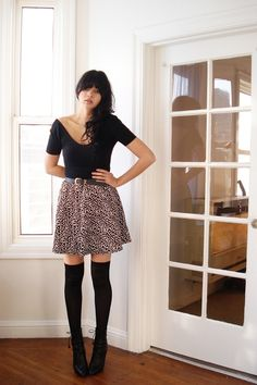 Thigh high socks skater skirt boots or heels? Love