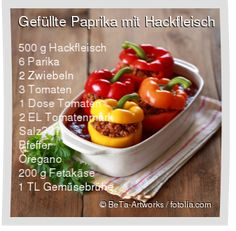 Leckeres Gefüllte Paprika mit Hackfleisch Rezept mit einfacher Schritt-für-Sch… Delicious stuffed peppers with minced meat recipe with simple step-by-step instructions: wash the peppers, cut out the end of the stem and … Stew Meat Recipes, Potluck Recipes, Raw Food Recipes, Healthy Recipes, Minced Meat Recipe, Salad Ingredients, Mince Meat, Food Dishes, Low Carb