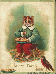 Antique Raphael Tuck, Louis Wain Cat Christmas Card!