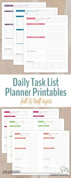 Daily Project Organizer Templates Free  Daily Planner For