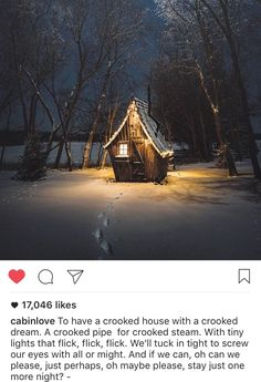Crooked House, Collection Of Poems, Cabin, Lights, House Styles, Home Decor, Decoration Home, Room Decor, Cabins