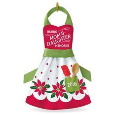 Honor mother-daughter memories made in the kitchen with this festive apron ornament. Poinsettia blossoms add a cheery touch to the red and green design.