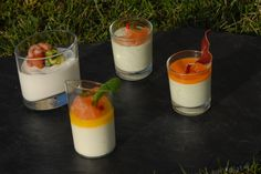 Mousses in both watercresses and smoked salmon, in coulis of pepper and dried bacon, in goat'cheese and coulis of yellow pepper. ©OPT – JP Remy