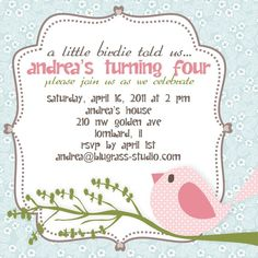 First Birthday Invites Lets PARTY Pinterest Bird
