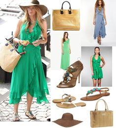On Serena: Haute Hippie Take Me Now Dress, Fendi Twins Straw Tote, Giuseppe Zanotti Embellished Flat Sandals