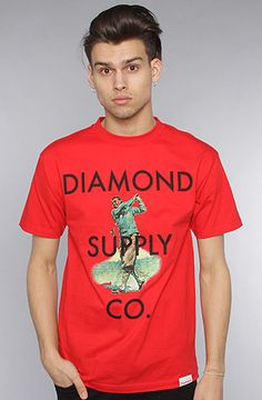 #Karmaloop The #Diamond #Golf #Tee in #Red by #Diamond #Supply #Co.  Use rep code:XLOOP for 20% off  Retail:$27.00