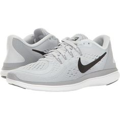 Nike Flex RN 2017 (Pure Platinum/Black/Wolf Grey/Cool Grey) Women's... ($85) ❤ liked on Polyvore featuring shoes, athletic shoes, sport, breathable running shoes, lace up shoes, nike athletic shoes, grey running shoes and gray shoes