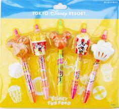 Rakuten Mickey Minnie fast food ballpoint pen set 5 bottles hamburger fries popcorn Tokyo Disney Resort limited TDR Mickey Minnie Food Ballpoint set Limited in Tokyo Disney Resort: Panna House