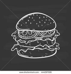 Doodle art burger on chalkboard background