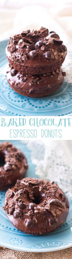These baked chocolate donuts have brewed espresso in the batter and chopped espresso beans on top of the rich, chocolate glaze. You can have your morning cup of coffee and eat it too!