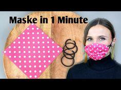 Maske für Mund & Nase in 1 Minute Facemask face mask diy Small Sewing Projects, Sewing Hacks, Sewing Crafts, Easy Face Masks, Diy Face Mask, Homemade Face Masks, Pocket Pattern, Diy Couture, Diy Mask