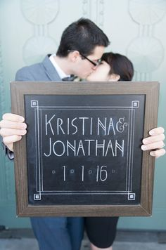 Love the chalkboard sign - perfect for invites!!