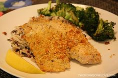 Parmesan Crusted Tilapia - An easy, oven baked low carb fish recipe. Less than $10 to make and on the table in under an hour.