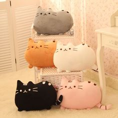 Kawaii cartoon cat pillow