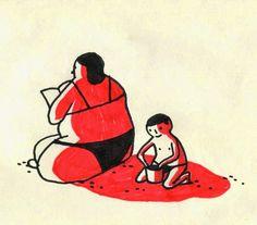 Quentin Vijoux sun sand beach kid illustration