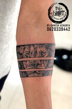 Tattoos Discover Lion band tattoo by Inkblot Tattoo studio Jayanagar Band Tattoos For Men, Lion Forearm Tattoos, Forearm Band Tattoos, Tattoo Band, Band Tattoo Designs, Forarm Tattoos, Arm Tattoos For Guys, Body Art Tattoos, Tribal Armband Tattoo