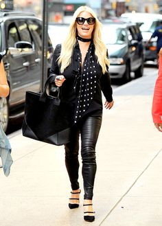 Jessica Simpson's Toned Legs Get the Leather Treatment in Tight Pants: See Her Street Style!