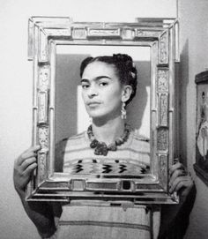 Framed Frida (year/photographer unknown)-was she the first to do this pose?  Probably not, but she was way ahead of her time.
