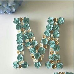 with Essas letras são lindas, inspiração para decor! ❤ ・・・ Customer requested these colours hope you all like as much as I love it Letter A Crafts, Letter Art, Wooden Letters, Monogram Letters, Alphabet, Diy And Crafts, Arts And Crafts, Estilo Shabby Chic, Flower Letters