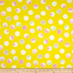 Designed by Bonnie Christine for Art Gallery Fabrics, this printed jersey knit makes math look easy with colorful pie charts and a hint of metallic gold. It's perfect for creating stylish t-shirts or dresses and skirts with a lining. It features a soft hand and about a 50% four way stretch for added comfort and ease. Colors include yellow, shades of pink, metallic gold, mint, white and grey.