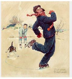 The Skating Pond by N.Rockwell