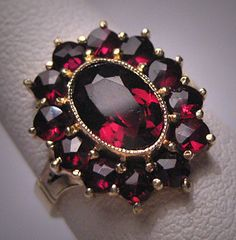 Antique Victorian Bohemian Garnet Ring by AawsombleiJewelry