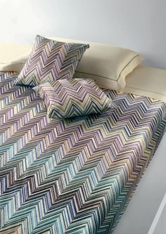 "Missoni ""Janet"" embroidered duvet cover and pillows. Love!"